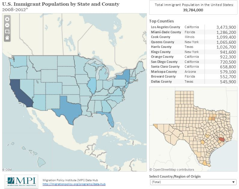 Maps Of Immigrants In The United States Migrationpolicyorg - Us-population-map-by-county