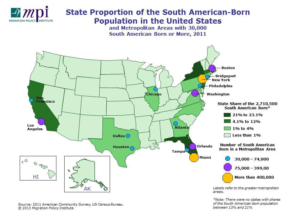 South American Immigrants in the United States | migrationpolicy.org