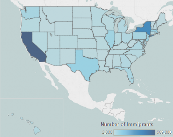 Chinese Immigrants In The United States Migrationpolicyorg - Us map in chinese