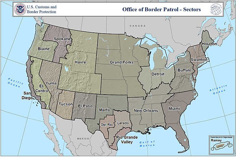 Map 1. US Border Patrol Sectors