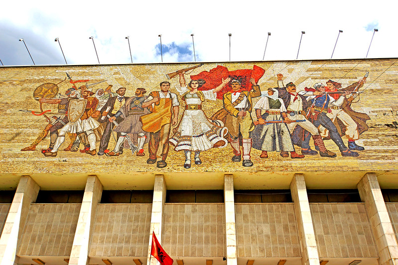 The National Museum of History in Tirana, Albania features a large mosaic with nationalist imagery.