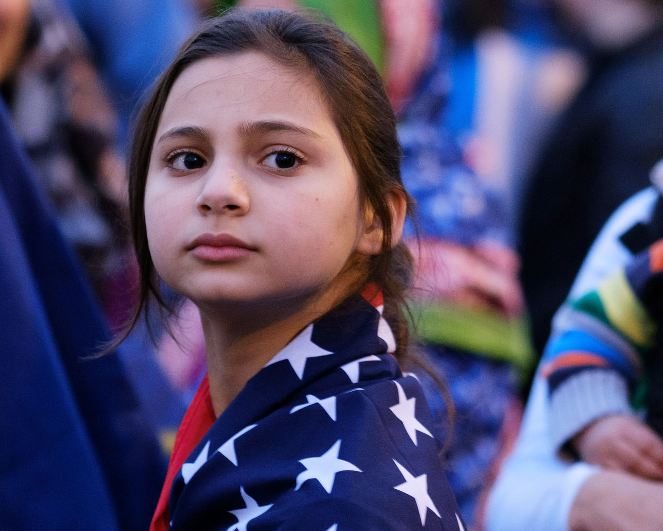 Girl wearing flag