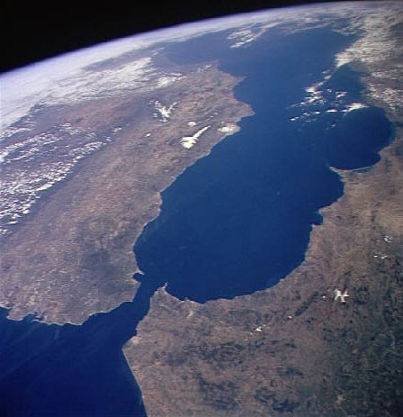 The Strait of Gibraltar is a migration passage for tens of thousands of Moroccans each year. (Photo courtesy of NASA)