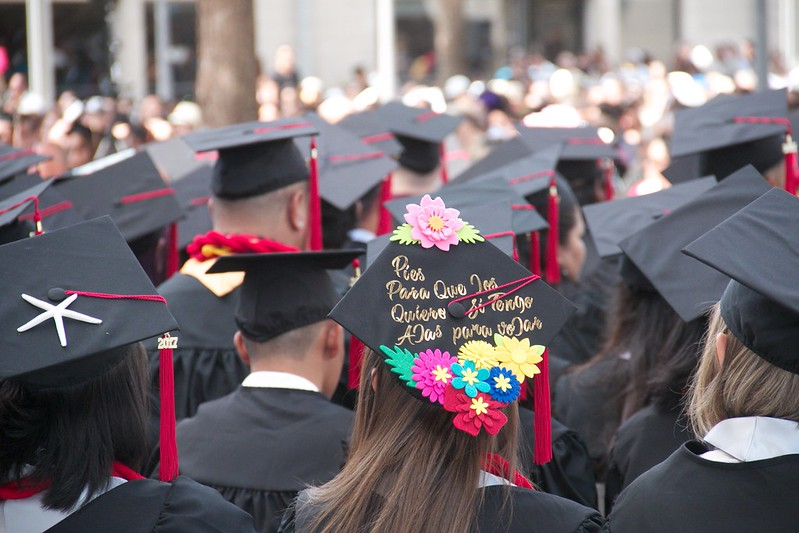 Students at the University of Hawai'i–West O'ahu prepare to graduate during the spring commencement ceremony.