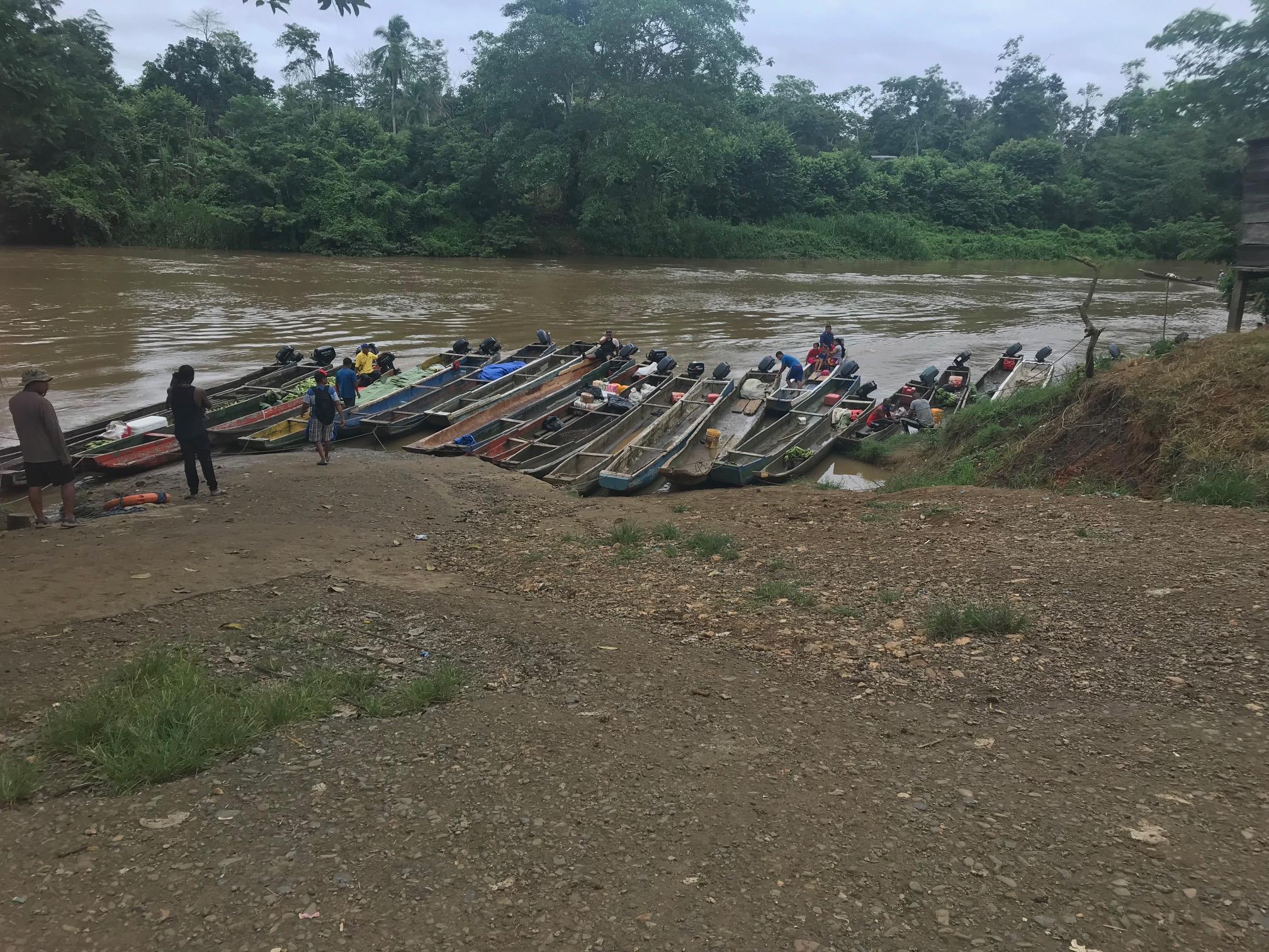 Boats along a river in the Darien Gap, Panama