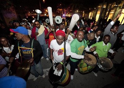 Drummers at an event in the Little Haiti neighborhood of Miami