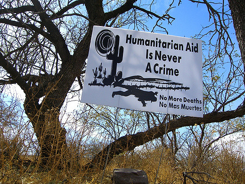 Sign left by No More Deaths activists in Arizona