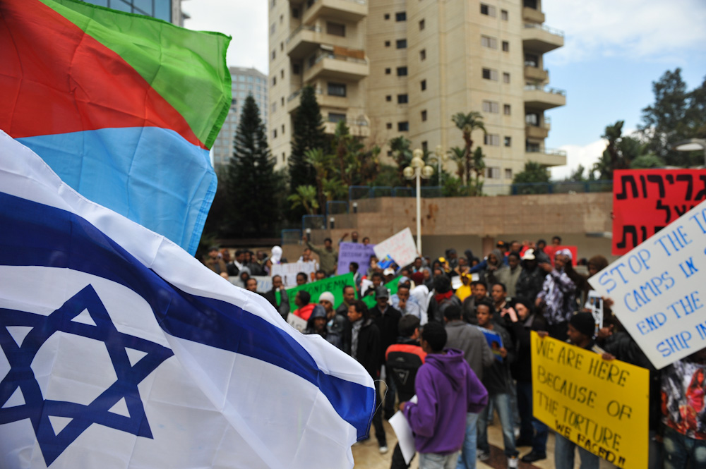 A gathering in Tel Aviv for asylum seeker rights