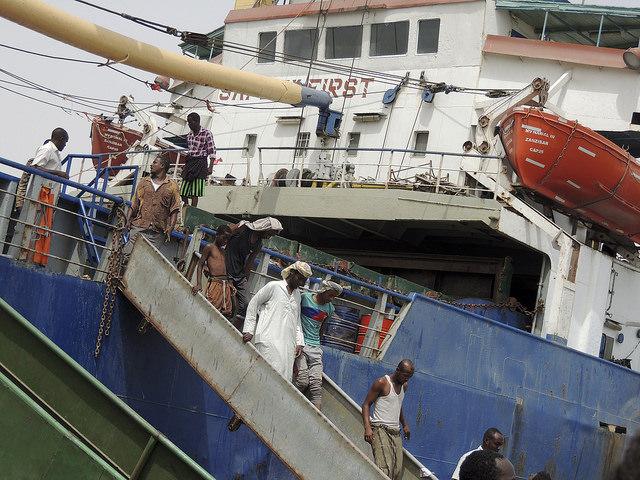 Somali migrants disembarking.