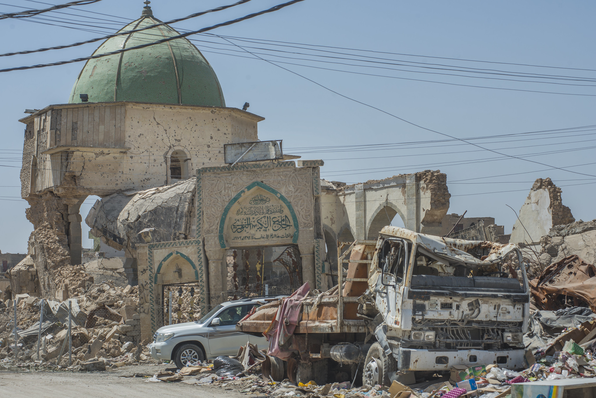 The ruins of the Great Mosque of al-Nuri in Mosul's Old Town