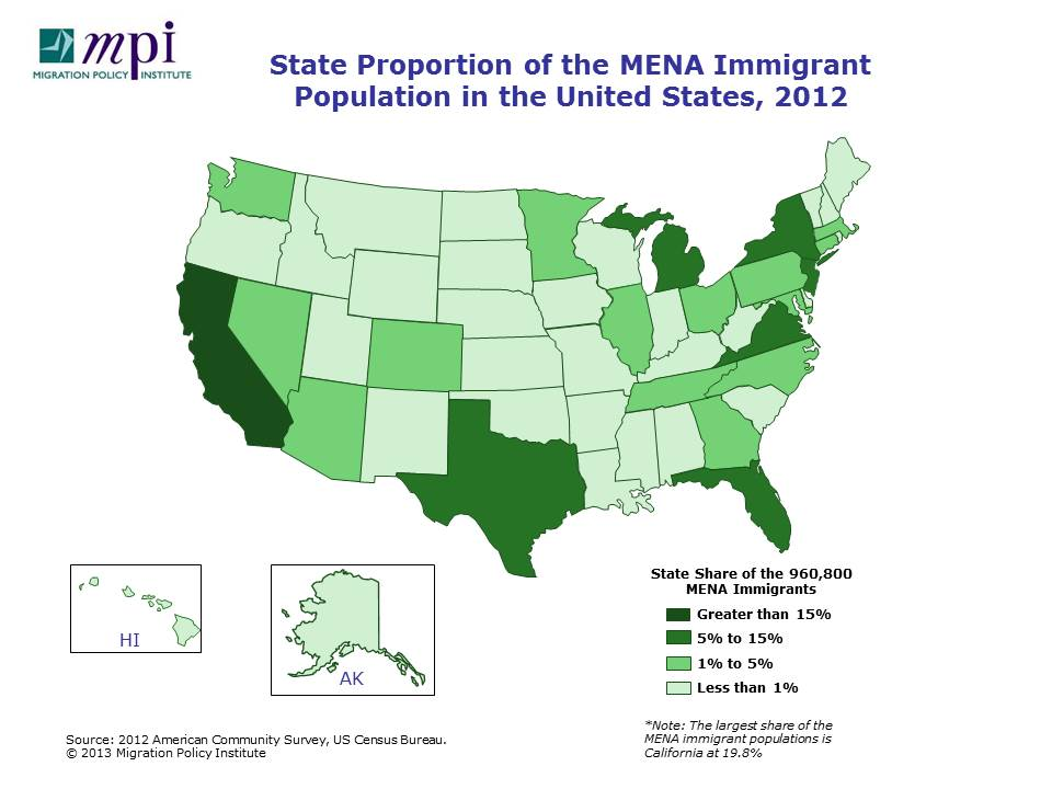 Middle Eastern And North African Immigrants In The United States - Mid east usa map