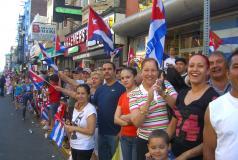 People celebrating a Cuban Day Parade