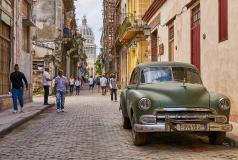 One of Cuba's many old cars on a street in Havana.