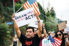Supporters of the DREAM Act at a September 2017 march in Los Angeles.