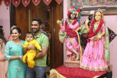 A family in New Jersey celebrates the Hindu festival of Janmashtami.