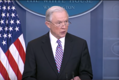 Attorney General Jeff Sessions in the White House briefing room.