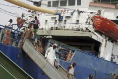 Somali migrants disembarking.