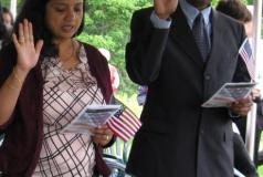 People at an annual July 4 citizenship ceremony