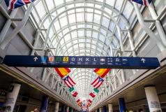 Flags fly at the Chicago airport