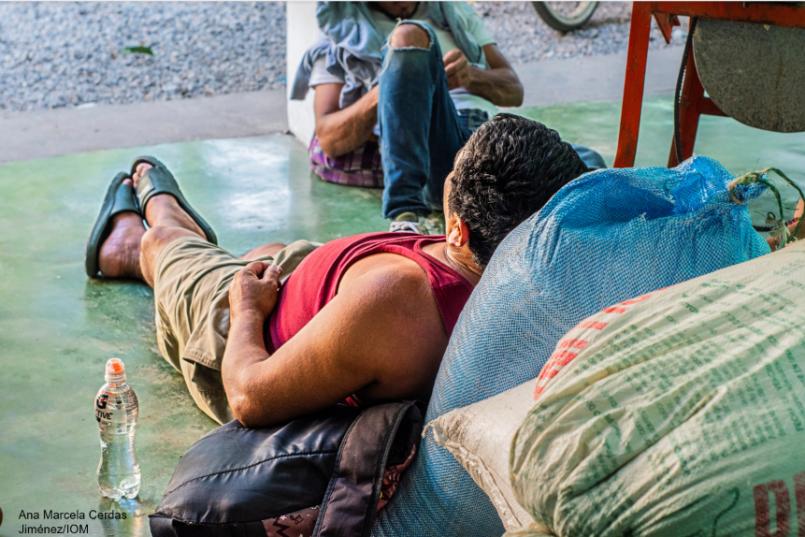 Central American migrant resting in Guatemala