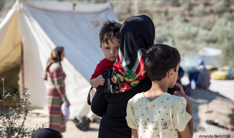 Woman and children in Lesbos