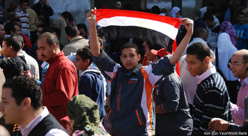 Arab spring protester with Egyptian flag