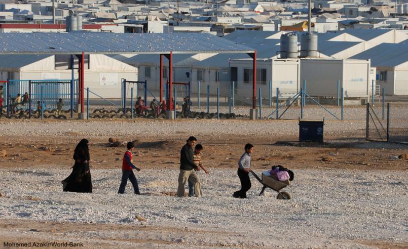 Syrian refugee family walking in camp in Jordan