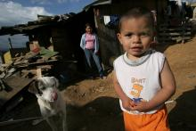 An internally displaced Colombian family outside Bogota.