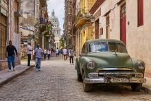 One of Cuba's many old cars on a street in Havana.