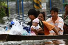 Residents are affected by massive flooding in Thailand in 2011.