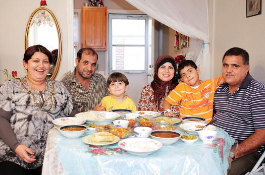 Iraqi family living in the United States after being resettled as refugees