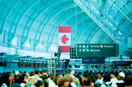 Airport with Canadian flag