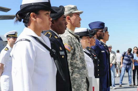 Servicemembers taking the oath of citizenship