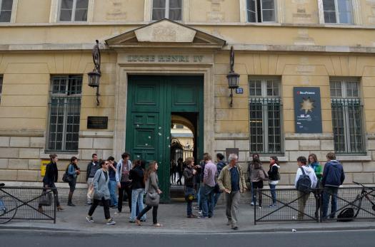 Pupils outside a school in Paris
