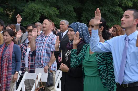 Immigrants at a U.S. naturalization ceremony