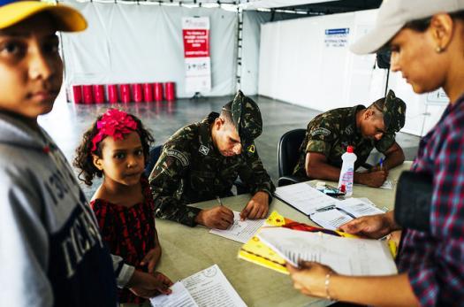 Venezuelan migrants at the Brazil border