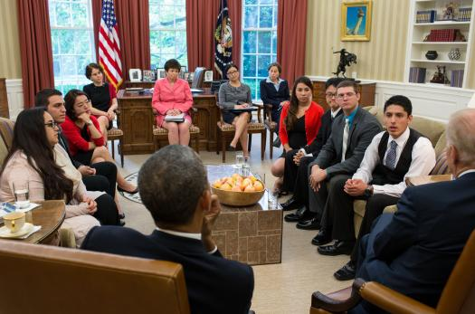 President Obama and Vice President Biden meet with DACA recipients in the Oval Office