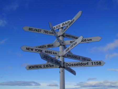 Signpost pointing to cities around the world