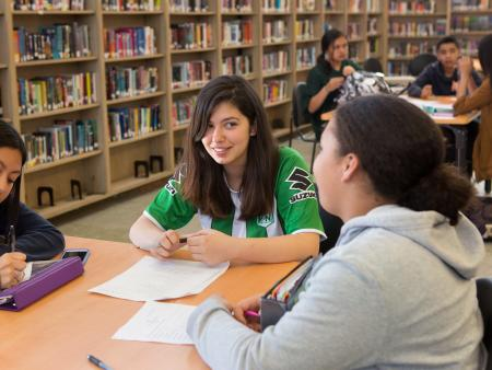 High school students working together in the library