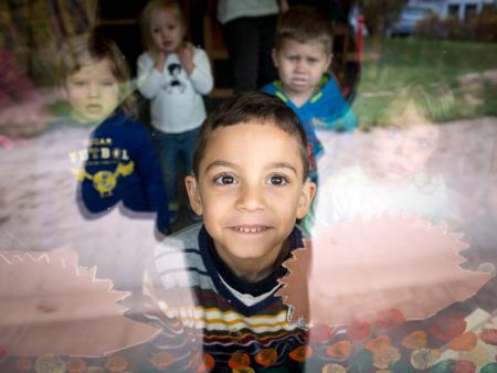 Refugee child in a German kindergarten