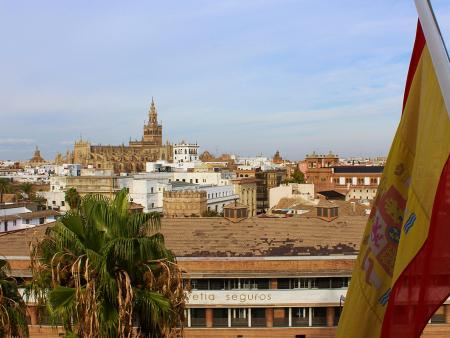 Spanish flag over Sevilla