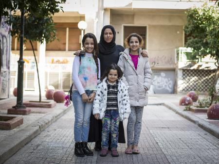 Syrian family in Greece