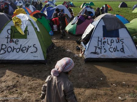 Refugees in makeshift camp on the border between Greece and the Former Yugoslav Republic of Macedonia.