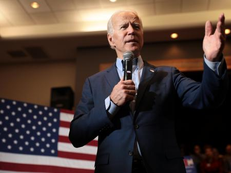 Joe Biden speaking with supporters in Henderson, Nevada