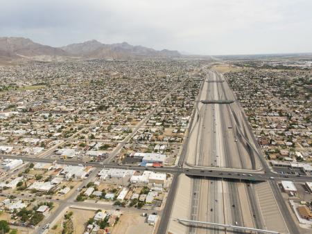 Aerial view of Juarez, Mexico and El Paso, Texas