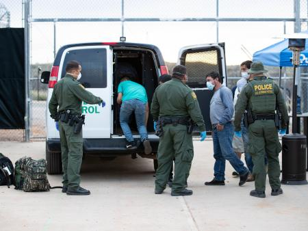 U.S. Border Patrol agents conduct an operation near Sasabe, Arizona