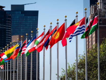 Flags outside the UN headquarters.