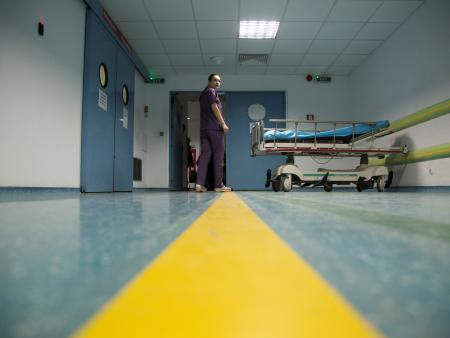 A health-care worker in a medical facility in Romania