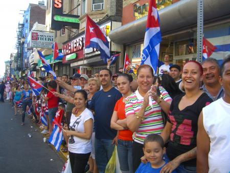 People celebrating a Cuban Day Parade