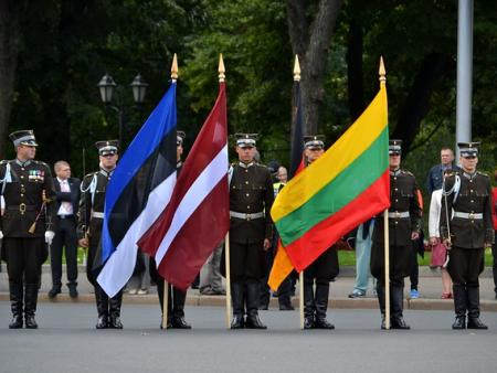 Flags from Estonia, Latvia, and Lithuania on display